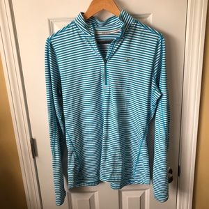 Nike Blue and White Striped Active Jacket L